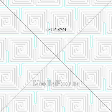 Seamless Geometric Background. Pattern With Realistic Shadow And Cut Out Of Paper Effect.3D White Spiral Squares With Blue Stock Photo