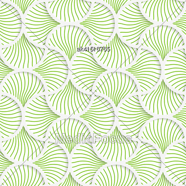 Seamless Geometric Background. Pattern With Realistic Shadow And Cut Out Of Paper Effect.3D Green Wavy Striped Pin Will Grid Stock Photo