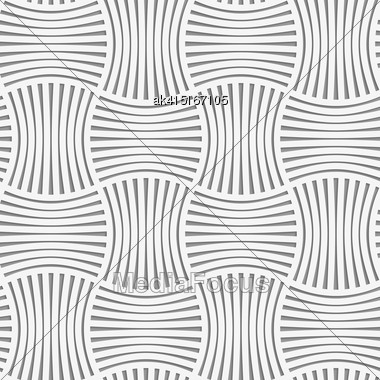 Seamless Geometric Pattern .Realistic Shadow Creates 3D Look. Light Gray Colors.Cut Out Paper Effect.Perforated Stripy Grid Stock Photo