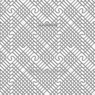 Seamless Geometric Pattern .Realistic Shadow Creates 3D Look. Light Gray Colors.Cut Out Paper Effect.Perforated Square Overlapping Spirals Stock Photo