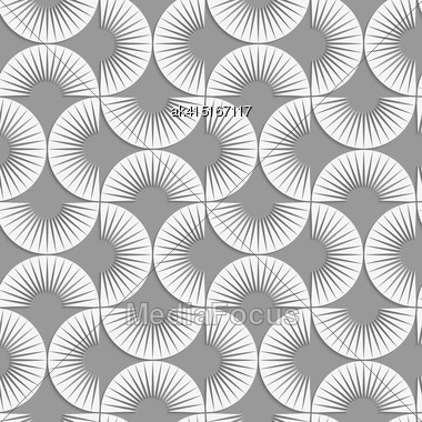 Seamless Geometric Pattern .Realistic Shadow Creates 3D Look. Light Gray Colors.Cut Out Paper Effect.Perforated Stripy Semi Circles Stock Photo