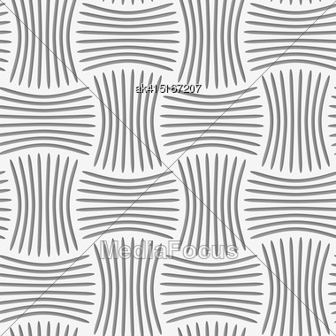 Seamless Geometric Pattern .Realistic Shadow Creates 3D Look. Light Gray Colors.Cut Out Paper Effect.Perforated Strips Pin Will Stock Photo