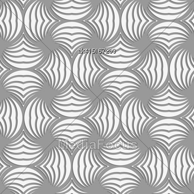 Seamless Geometric Pattern .Realistic Shadow Creates 3D Look. Light Gray Colors.Cut Out Paper Effect.Perforated Twisted Striped Circle Pin Will Stock Photo