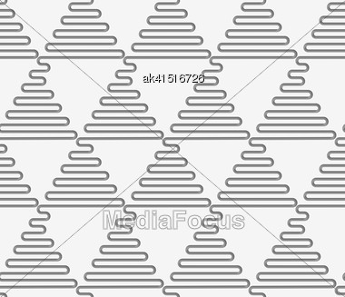 Seamless Geometric Pattern .Realistic Shadow Creates 3D Look. Light Gray Colors.Cut Out Paper Effect.Perforated Wavy Triangles In Rows Stock Photo