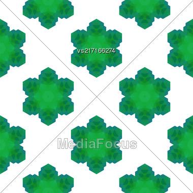 Seamless Green Snowflake Pattern. Geometric Ornamental Background Stock Photo