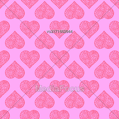 Seamless Hearts Pattern Isolated On Pink Background. Valentines Day Banner Stock Photo