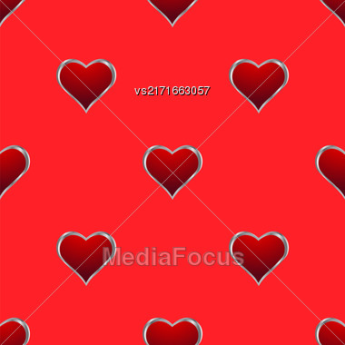 Seamless Hearts Pattern Isolated On Red Background. Valentines Day Banner Stock Photo