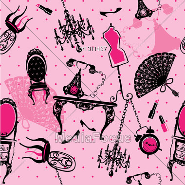 Seamless Pattern With Antique Furniture - Black Silhouettes On Pink Background Stock Photo