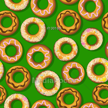 Seamless Pattern With Fresh Donuts. Graphic Arts. Stock Photo