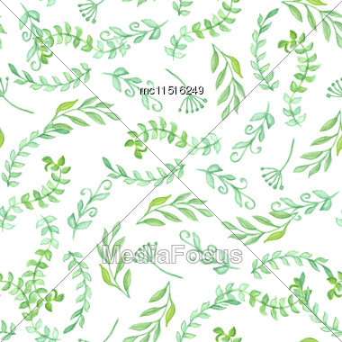 Seamless Pattern With Green Leaf. Vector Illustration. Watercolor Painted Background Stock Photo