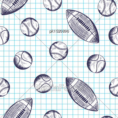 Seamless Pattern With Hand Drawn Different Sport Balls On Checkered Copybook Background Stock Photo