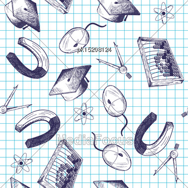 Seamless Pattern With Hand Drawn Education Theme On Checkered Copybook Background Stock Photo