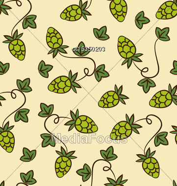 Seamless Pattern Hops Plans As Part Quality Cooking Beer - Vector Stock Photo