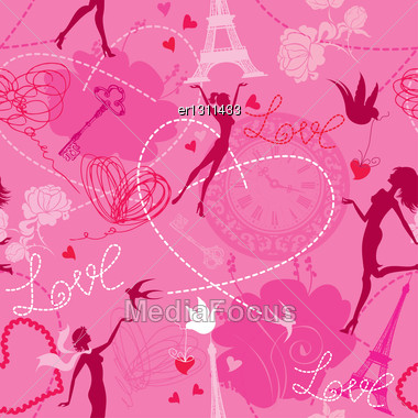 Seamless Pattern In Pink Colors - Silhouettes Of Fashionable Girls, Hearts And Birds. Love Dreams In Paris Stock Photo