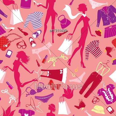 Seamless Pattern In Pink Colours - Silhouettes Of Fashionable Girls With Colorful Glamor Clothes And Accessories Stock Photo