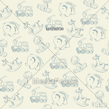 Seamless Pattern With Retro Toys, Vector Format Stock Photo