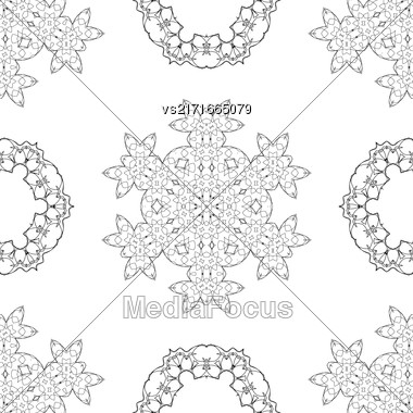 Seamless Pattern. Set Of Rosettes Isolated On White Background Stock Photo