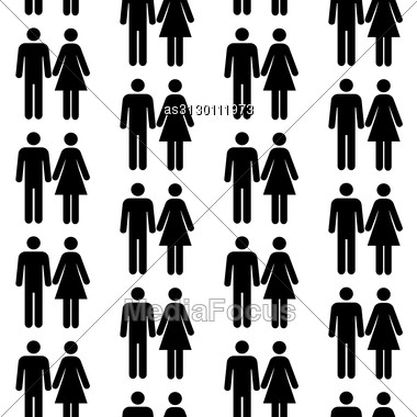 Seamless Pattern With Silhouettes Of The Person Of Different Color.(can Be Repeated And Scaled In Any Size) Stock Photo