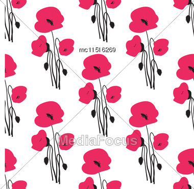 Seamless Pattern With Small Red Poppy Flowers Stock Photo