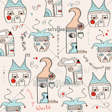 Seamless Pattern With Surreal Houses, Illustration In Vector Format Stock Photo