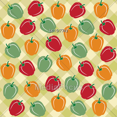 Seamless Pattern Of Sweet Peppers Of Different Colors, Vector Format Stock Photo