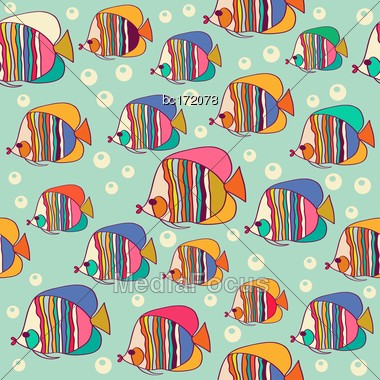 Seamless Pattern With Fish, Vector Format Stock Photo