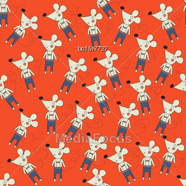 Seamless Pattern With Mice, Vector Format Stock Photo