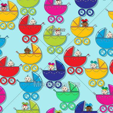 Seamless Pattern With New Born Babies Stock Photo