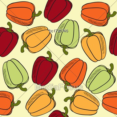 Seamless Pattern With Peppers, Vector Format Stock Photo