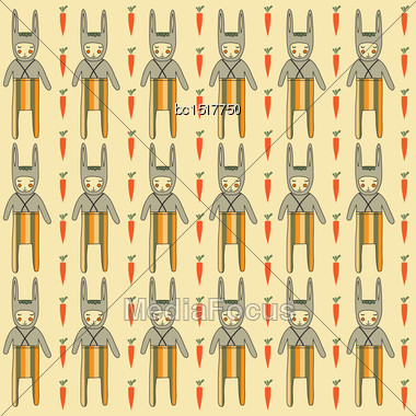 Seamless Pattern With Rabbits, Vector Format Stock Photo