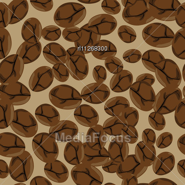 Seamless Pattern With Roasted Coffee Beans Stock Photo