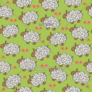 Seamless Pattern With Sheep, Vector Format Stock Photo
