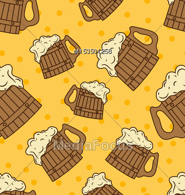 Seamless Pattern With Wooden Foam Beer Mugs - Vector Stock Photo
