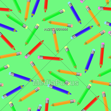 Seamless Pencil Pattern On Green. Set Of Colorful Sharpened Pencils For Drawing. Randomly Scattered School Accessories Stock Photo