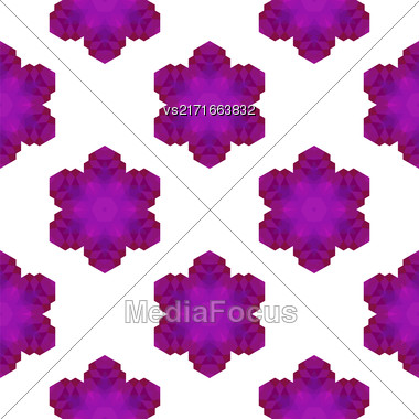Seamless Pink Snowflake Pattern. Geometric Ornamental Background Stock Photo