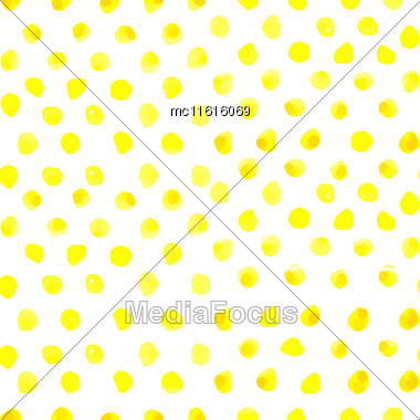 Seamless Polka Dot Pattern From Watercolor Paint Yellow Circles. Vector Illustration For Your Design Stock Photo