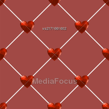 Seamless Polygonal Hearts Pattern Isolated On Red Background Stock Photo