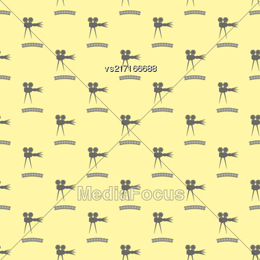 Seamless Retro Cinema Pattern. Old Movie Projector Film Strip Background Stock Photo