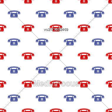 Seamless Retro Red Blue Phone Pattern. Silhouette Of Old Telephone Stock Photo