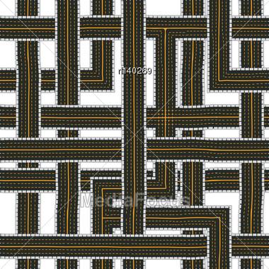 Seamless Road Pattern, Cartoon Drawing Stock Photo