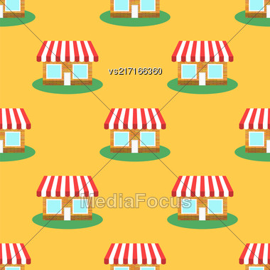 Seamless Smaii Shop Pattern On Yellow. Store Background Stock Photo