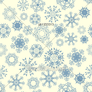 Seamless Snowflake Patterns. Fully Editable EPS 8 Vector Illustration. Stock Photo