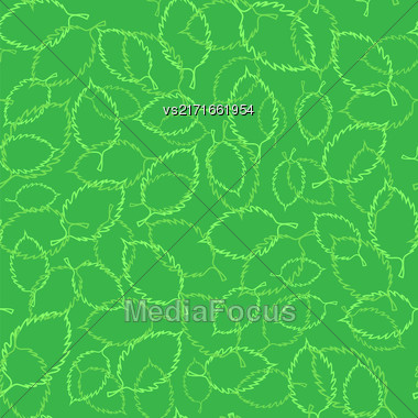 Seamless Spring Green Leaves Background. Silhouettes Of Leaves Stock Photo