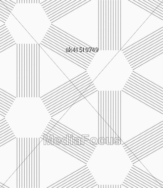 Seamless Stylish Dotted Geometric Background. Modern Abstract Pattern Made With Dotts. Flat Monochrome Design.Gray Dotted Lines Forming Triangles And Hexagons Stock Photo
