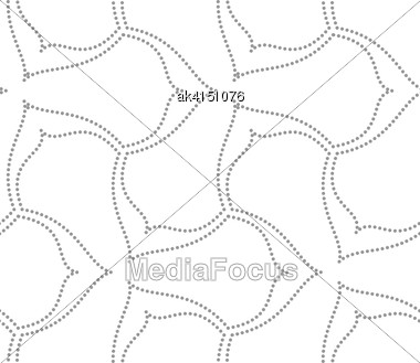 Seamless Stylish Dotted Geometric Background. Modern Abstract Pattern Made With Dotts. Flat Monochrome Design.Gray Dotted Wavy Lines Three Pedal Flowers Stock Photo