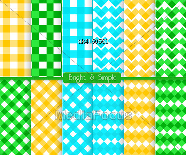 Seamless Stylish Geometric Background Set. Simple Patterns.Each Pattern Grouped On Separate Layer Under Cover. Easy To Edit Or Recolor Stock Photo