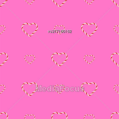Seamless Sweet Candy Hearts Pattern Isolated On Pink Background. Valentines Day Banner Stock Photo