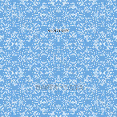 Seamless Texture On Azure. Element For Design. Ornamental Backdrop. Pattern Fill. Ornate Floral Decor For Wallpaper. Traditional Decor On Background Stock Photo