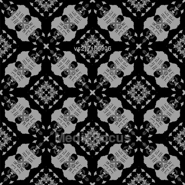 Seamless Texture On Black. Element For Design. Ornamental Backdrop. Pattern Fill. Ornate Floral Decor For Wallpaper. Traditional Decor On Background Stock Photo