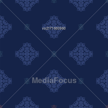 Seamless Texture On Blue. Element For Design. Ornamental Backdrop. Pattern Fill. Ornate Floral Decor For Wallpaper. Traditional Decor On Background Stock Photo